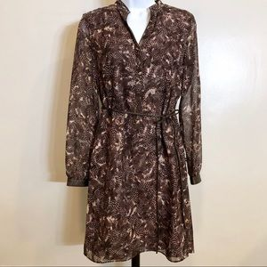 Ann Taylor Brown Pattern Dress Sz 0 NWT